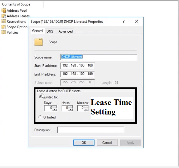 how to change dhcp lease time